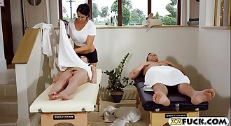 Milfy masseuse 3some with young couple