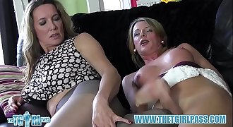 Shemale slut cums on nylon pantyhose ass