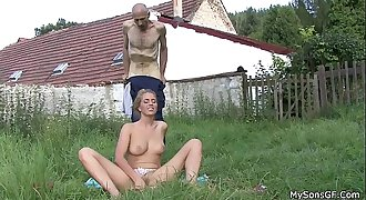 He finds his dad in law licks her young pussy
