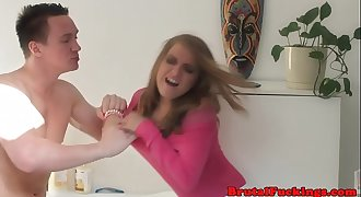 Teen stepsister harshly banged in both holes